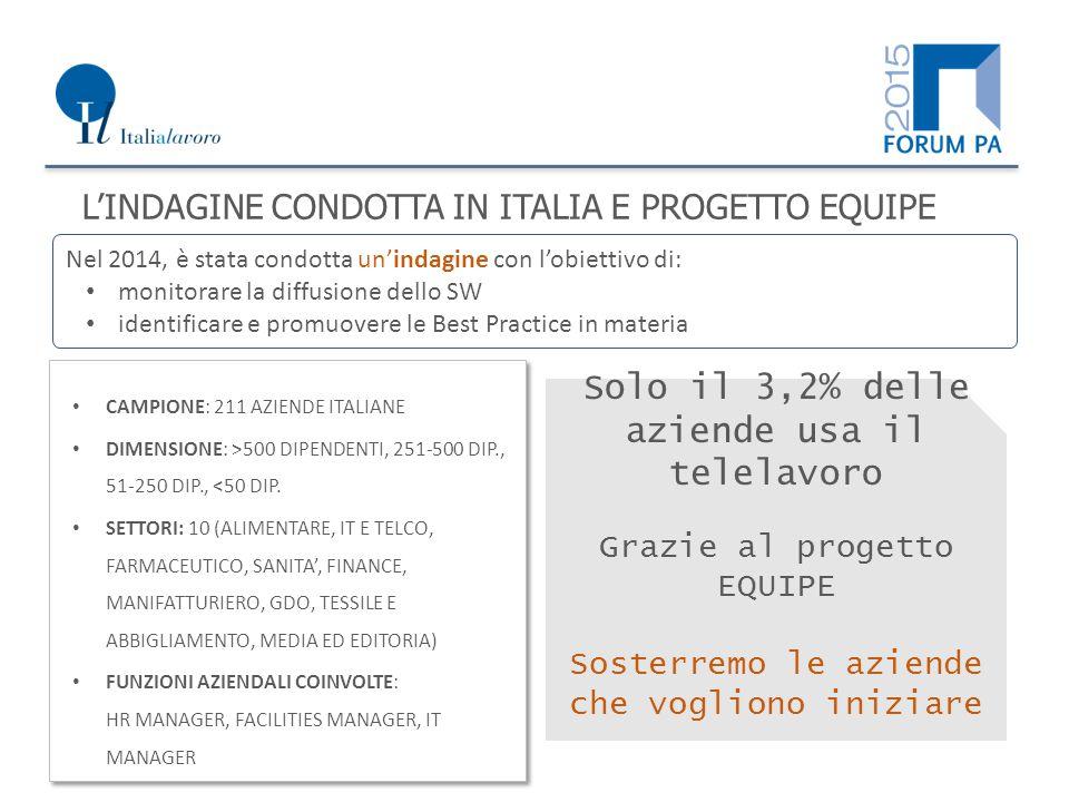 L'INDAGINE CONDOTTA IN ITALIA E PROGETTO EQUIPE Nel 2014, è stata condotta un'indagine con l'obiettivo di: monitorare la diffusione dello SW identificare e promuovere le Best Practice in materia CAMPIONE: 211 AZIENDE ITALIANE DIMENSIONE: >500 DIPENDENTI, 251-500 DIP., 51-250 DIP., <50 DIP.