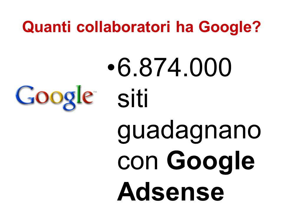 Quanti collaboratori ha Google? 6.874.000 siti guadagnano con Google Adsense