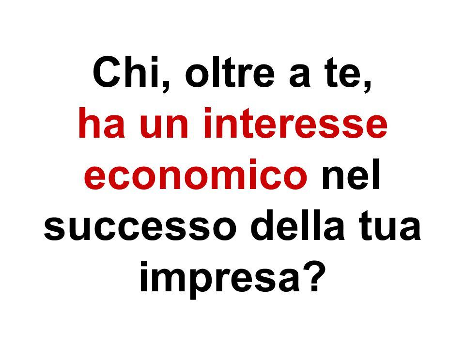 Chi, oltre a te, ha un interesse economico nel successo della tua impresa?