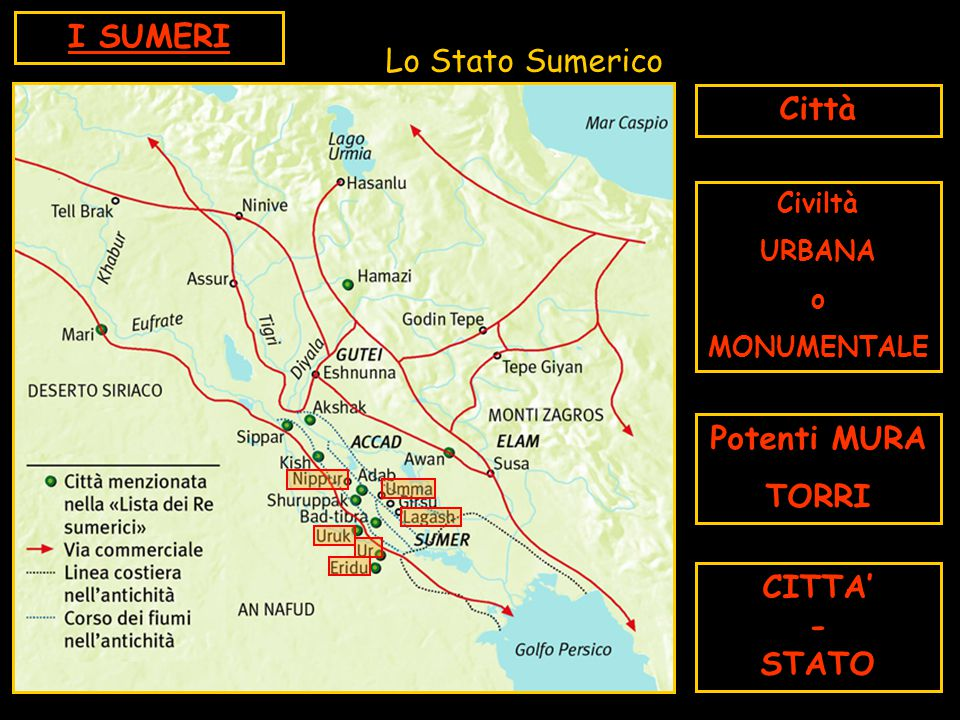 Lo Stato Sumerico Città Civiltà URBANA o MONUMENTALE Potenti MURA TORRI CITTA' - STATO