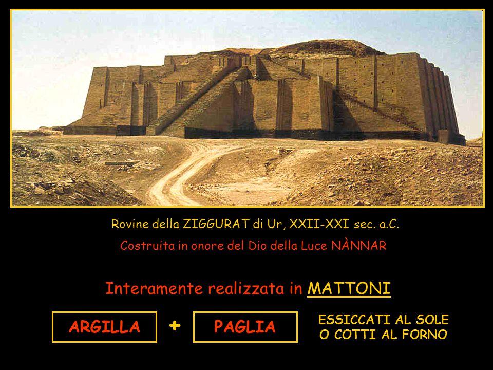 Rovine della ZIGGURAT di Ur, XXII-XXI sec. a.C. Costruita in onore del Dio della Luce NÀNNAR Interamente realizzata in MATTONI ARGILLAPAGLIA + ESSICCA