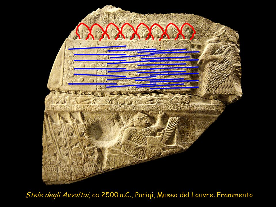 Stele degli Avvoltoi, ca 2500 a.C., Parigi, Museo del Louvre. Frammento