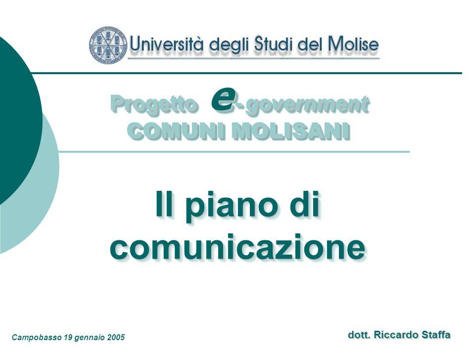dott. Riccardo Staffa Progetto e - government COMUNI MOLISANI Progetto e - government COMUNI MOLISANI Il piano di comunicazione comunicazione Campobas