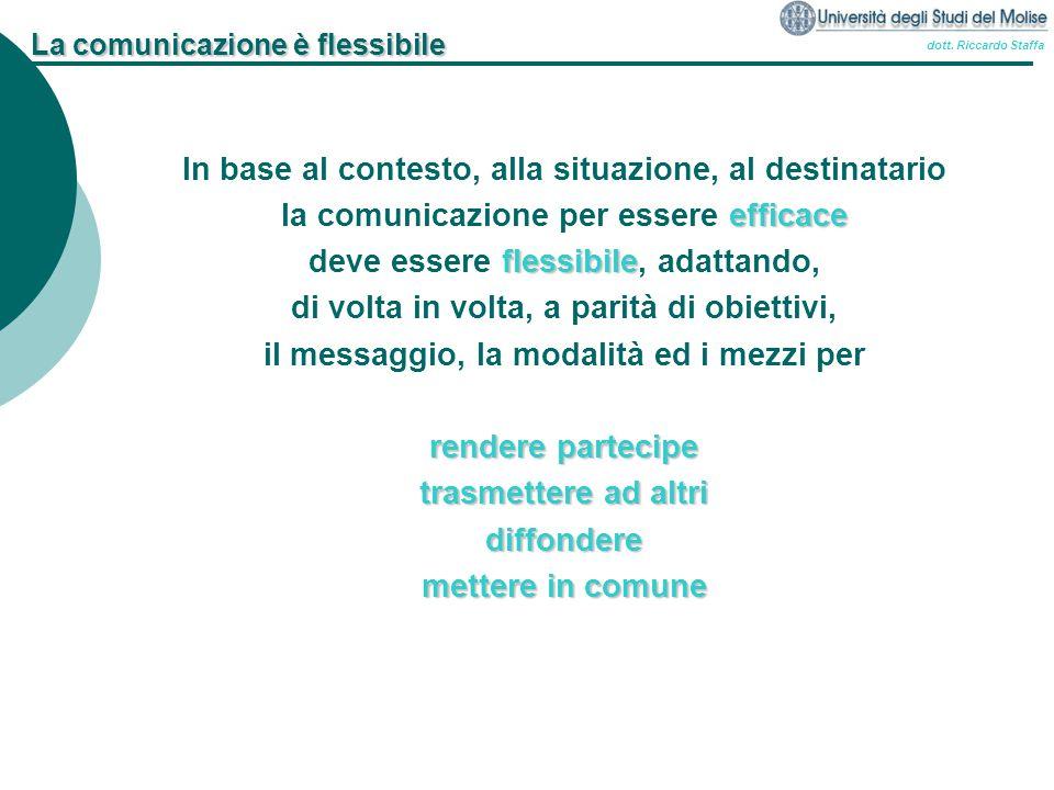 dott. Riccardo Staffa La comunicazione è flessibile In base al contesto, alla situazione, al destinatario efficace la comunicazione per essere efficac