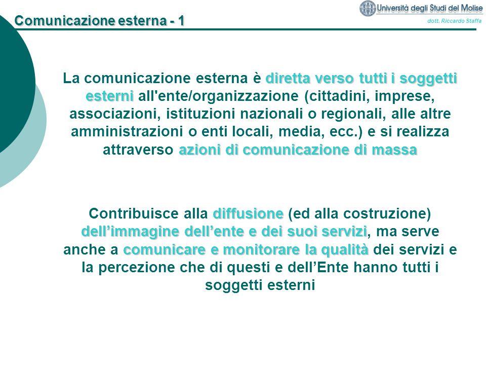 dott. Riccardo Staffa Comunicazione esterna - 1 diretta verso tutti i soggetti esterni azioni di comunicazione di massa La comunicazione esterna è dir