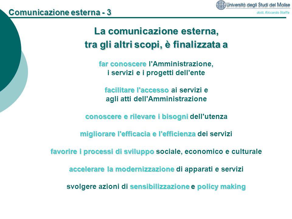 dott. Riccardo Staffa Comunicazione esterna - 3 La comunicazione esterna, tra gli altri scopi, è finalizzata a far conoscere far conoscere l'Amministr