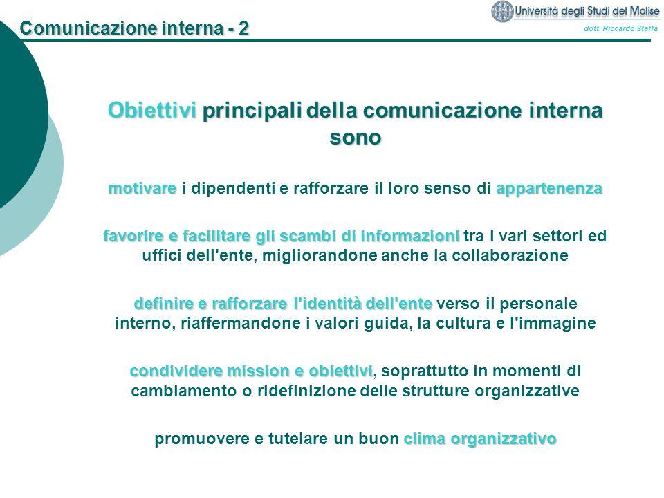dott. Riccardo Staffa Comunicazione interna - 2 Obiettivi principali della comunicazione interna sono motivareappartenenza motivare i dipendenti e raf