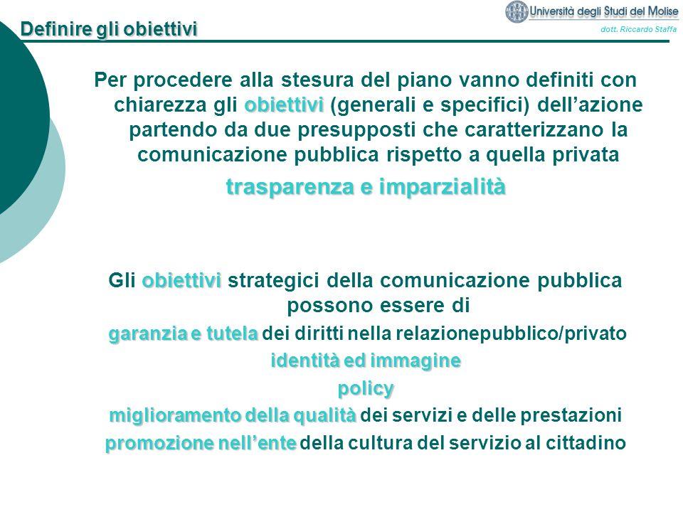 dott. Riccardo Staffa Definire gli obiettivi obiettivi Per procedere alla stesura del piano vanno definiti con chiarezza gli obiettivi (generali e spe