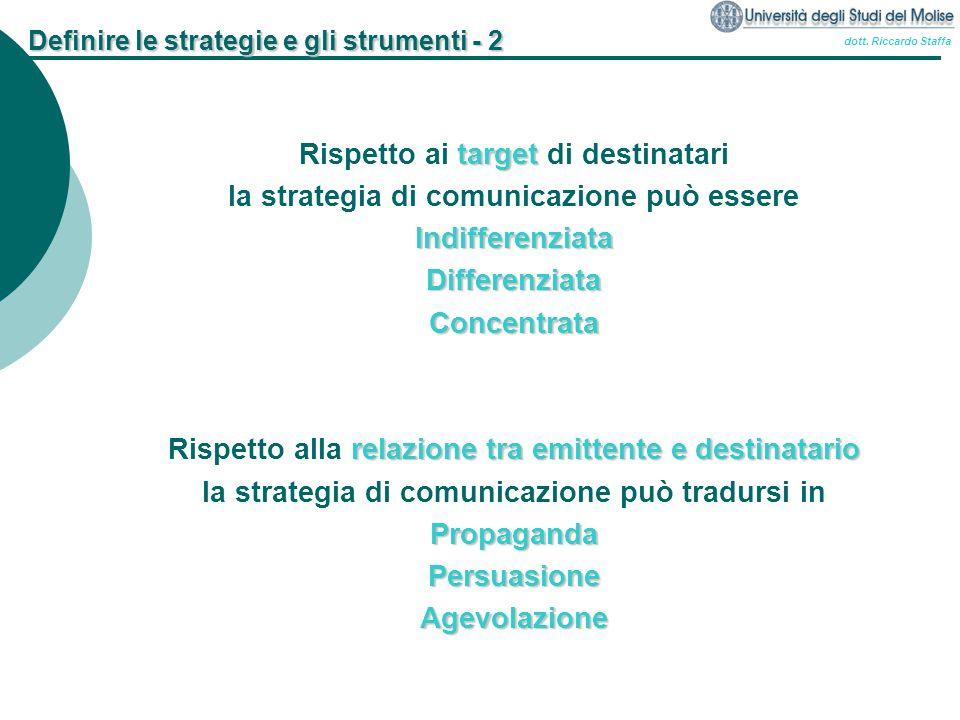 dott. Riccardo Staffa Definire le strategie e gli strumenti - 2 target Rispetto ai target di destinatari la strategia di comunicazione può essereIndif