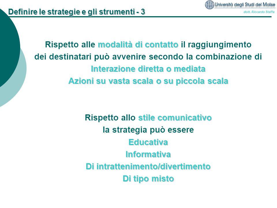 dott. Riccardo Staffa Definire le strategie e gli strumenti - 3 modalità di contatto Rispetto alle modalità di contatto il raggiungimento dei destinat