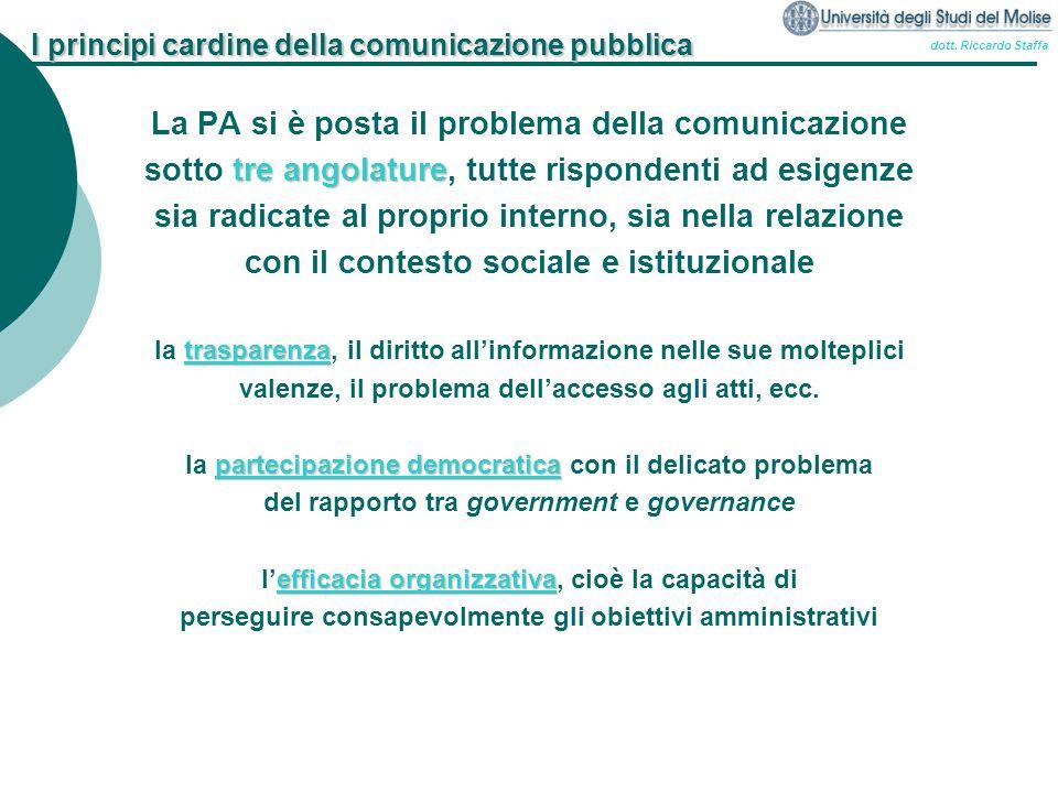 dott. Riccardo Staffa I principi cardine della comunicazione pubblica La PA si è posta il problema della comunicazione tre angolature sotto tre angola