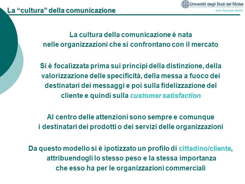 """dott. Riccardo Staffa La """"cultura"""" della comunicazione La cultura della comunicazione è nata nelle organizzazioni che si confrontano con il mercato Si"""