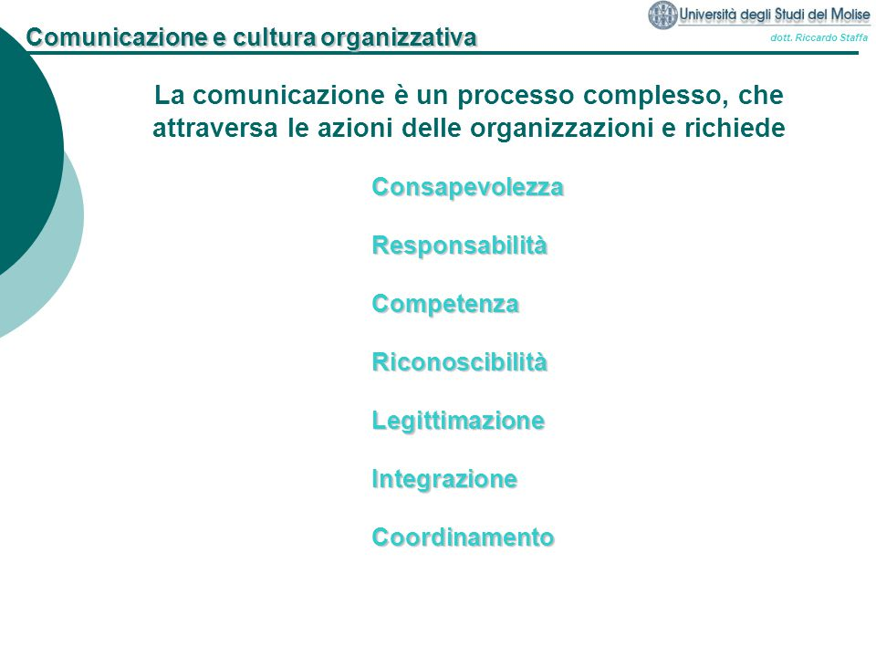 dott. Riccardo Staffa Comunicazione e cultura organizzativa La comunicazione è un processo complesso, che attraversa le azioni delle organizzazioni e