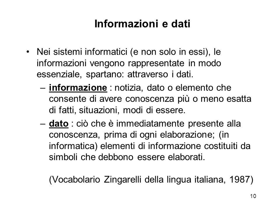 10 Informazioni e dati Nei sistemi informatici (e non solo in essi), le informazioni vengono rappresentate in modo essenziale, spartano: attraverso i