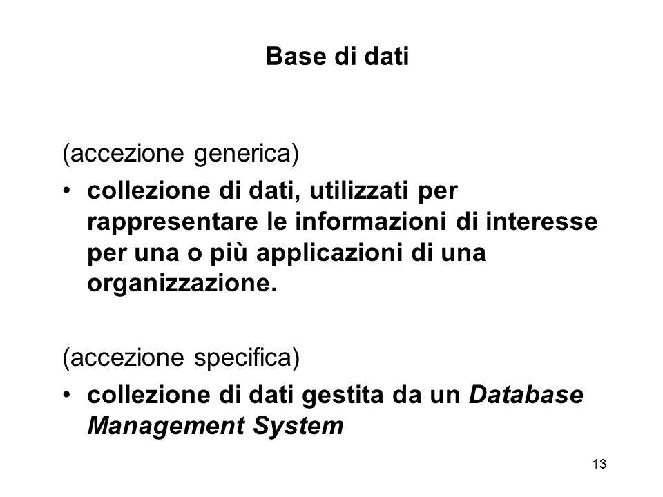 13 Base di dati (accezione generica) collezione di dati, utilizzati per rappresentare le informazioni di interesse per una o più applicazioni di una o