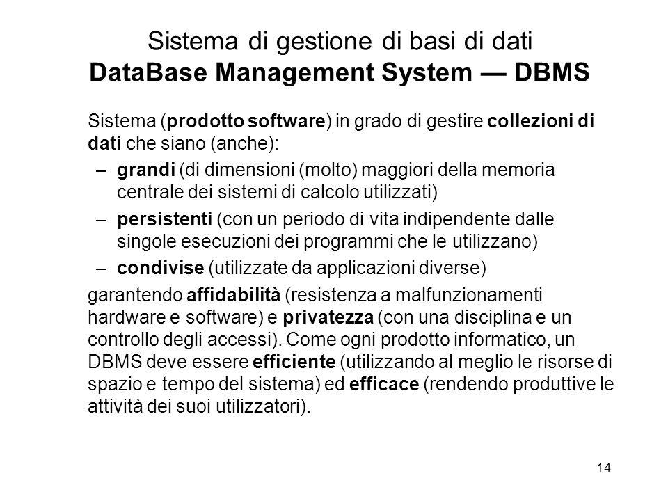 14 Sistema di gestione di basi di dati DataBase Management System — DBMS Sistema (prodotto software) in grado di gestire collezioni di dati che siano