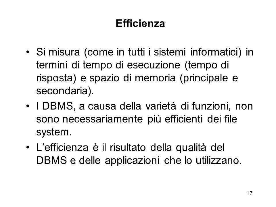 17 Efficienza Si misura (come in tutti i sistemi informatici) in termini di tempo di esecuzione (tempo di risposta) e spazio di memoria (principale e