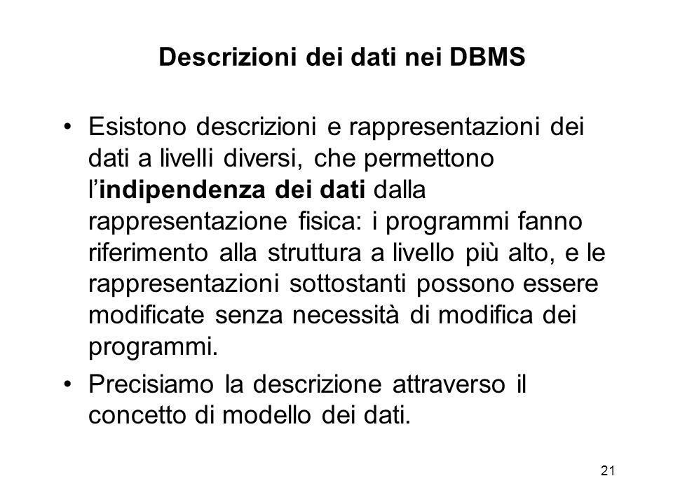 21 Descrizioni dei dati nei DBMS Esistono descrizioni e rappresentazioni dei dati a livelli diversi, che permettono l'indipendenza dei dati dalla rapp