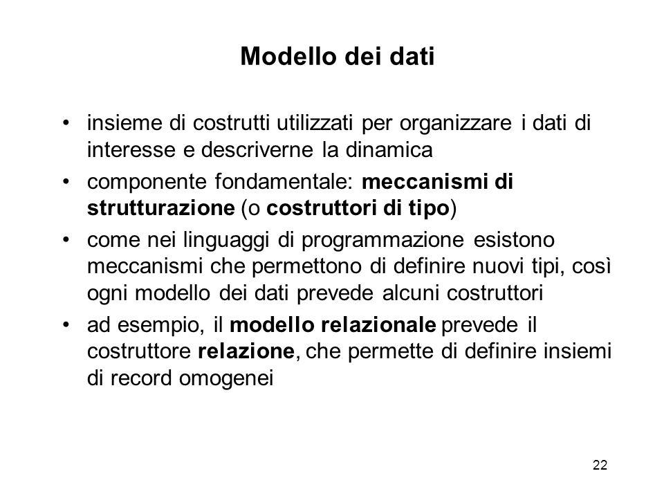 22 Modello dei dati insieme di costrutti utilizzati per organizzare i dati di interesse e descriverne la dinamica componente fondamentale: meccanismi