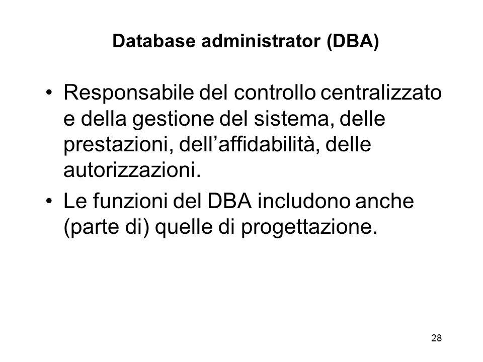 28 Database administrator (DBA) Responsabile del controllo centralizzato e della gestione del sistema, delle prestazioni, dell'affidabilità, delle aut