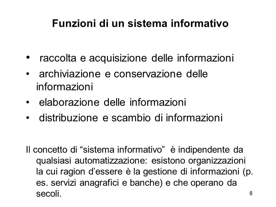 6 Funzioni di un sistema informativo raccolta e acquisizione delle informazioni archiviazione e conservazione delle informazioni elaborazione delle in