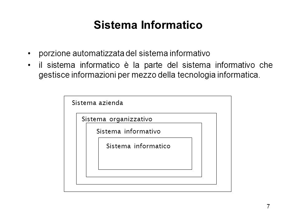 7 Sistema Informatico porzione automatizzata del sistema informativo il sistema informatico è la parte del sistema informativo che gestisce informazio