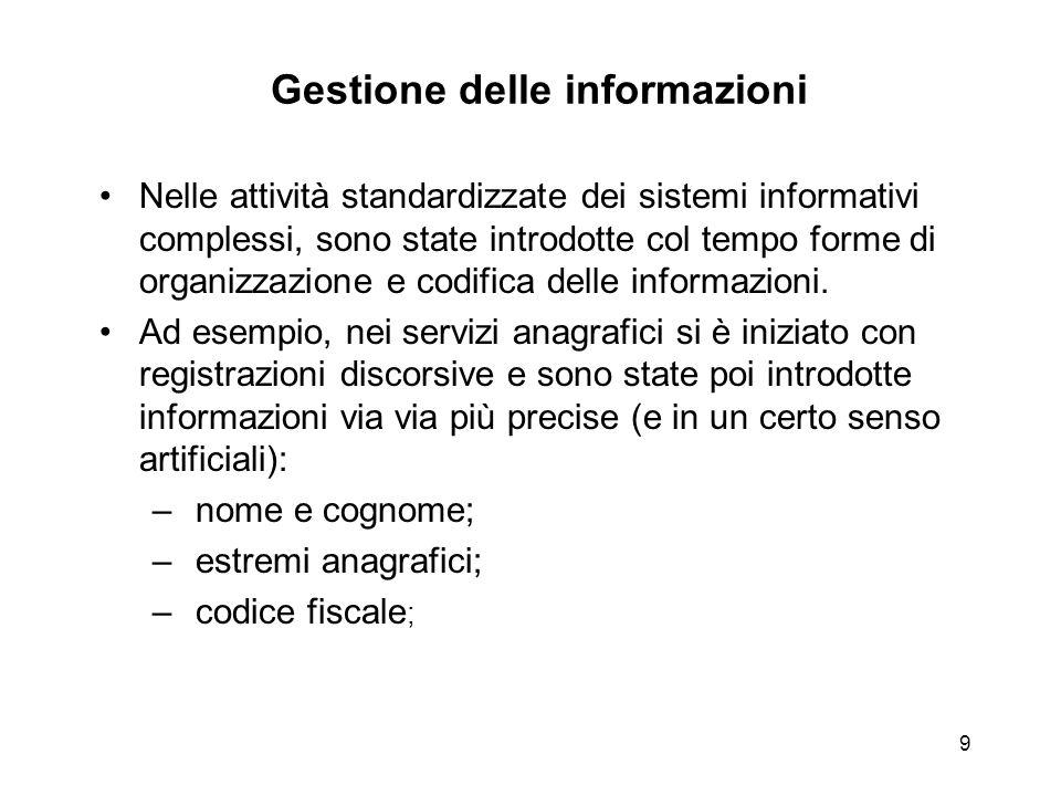 9 Gestione delle informazioni Nelle attività standardizzate dei sistemi informativi complessi, sono state introdotte col tempo forme di organizzazione