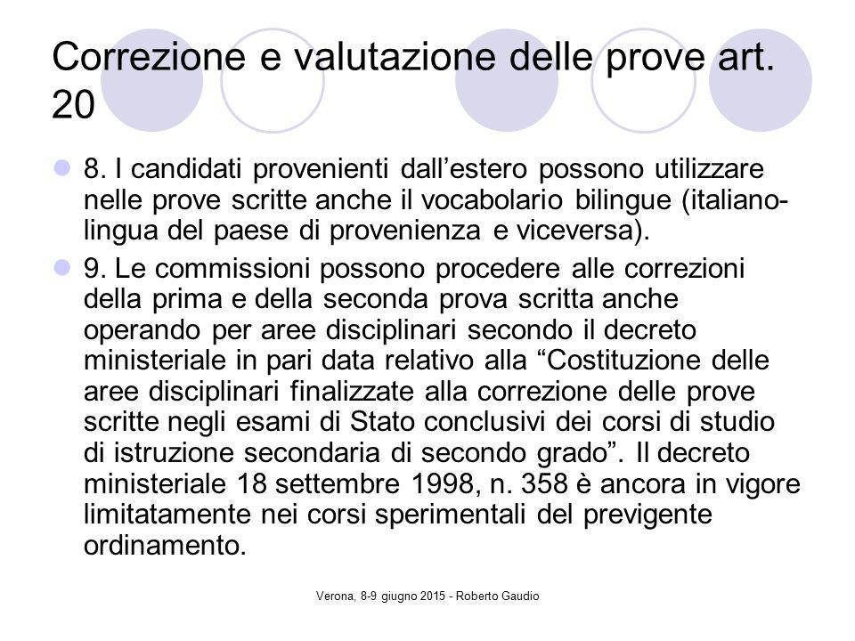 Verona, 8-9 giugno 2015 - Roberto Gaudio Correzione e valutazione delle prove art.
