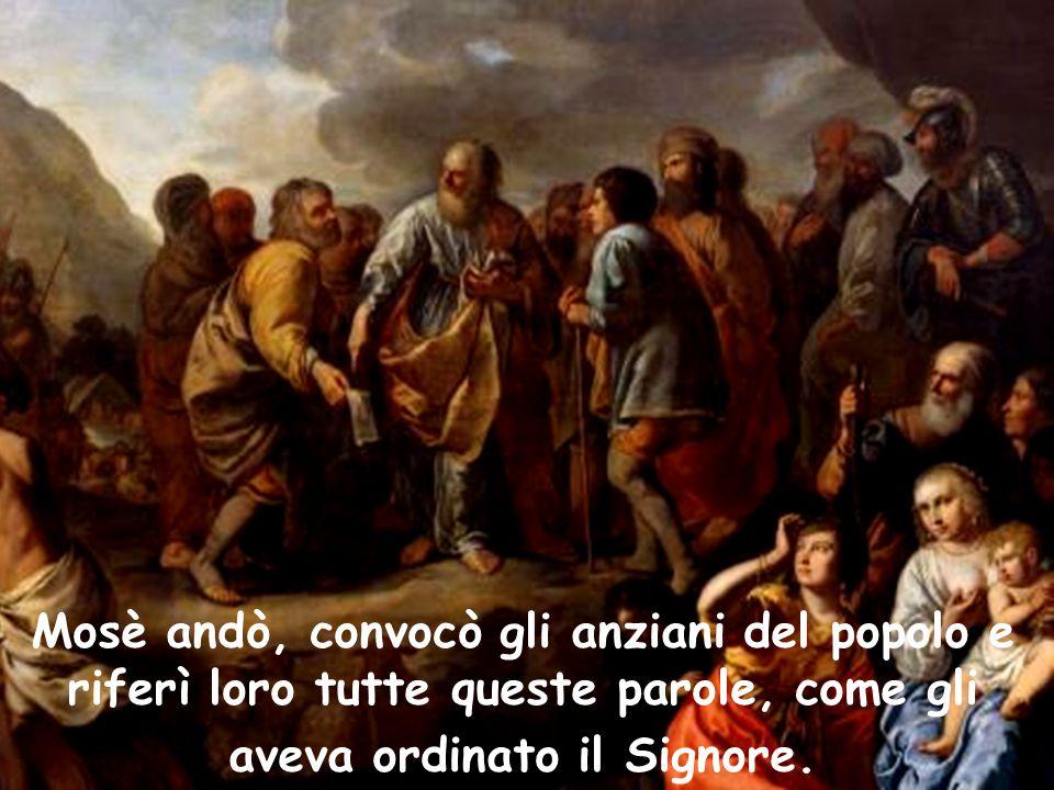 Mosè andò, convocò gli anziani del popolo e riferì loro tutte queste parole, come gli aveva ordinato il Signore.