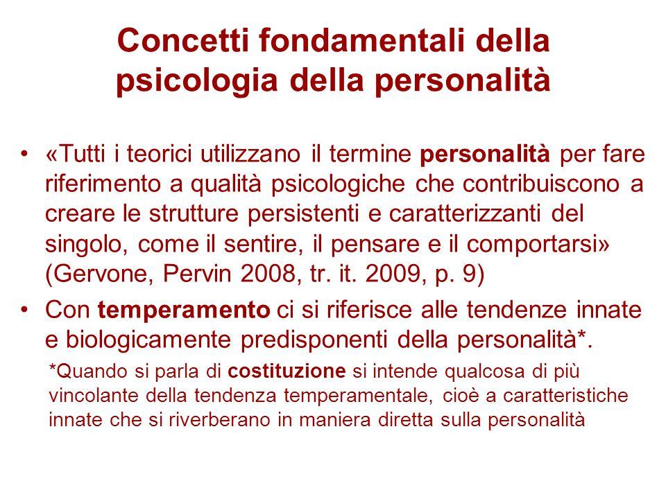 Concetti fondamentali della psicologia della personalità «Tutti i teorici utilizzano il termine personalità per fare riferimento a qualità psicologich