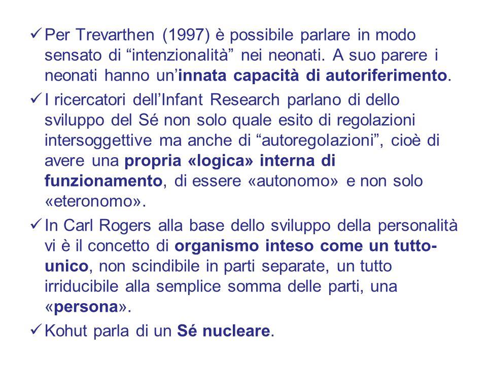 """Per Trevarthen (1997) è possibile parlare in modo sensato di """"intenzionalità"""" nei neonati. A suo parere i neonati hanno un'innata capacità di autorife"""