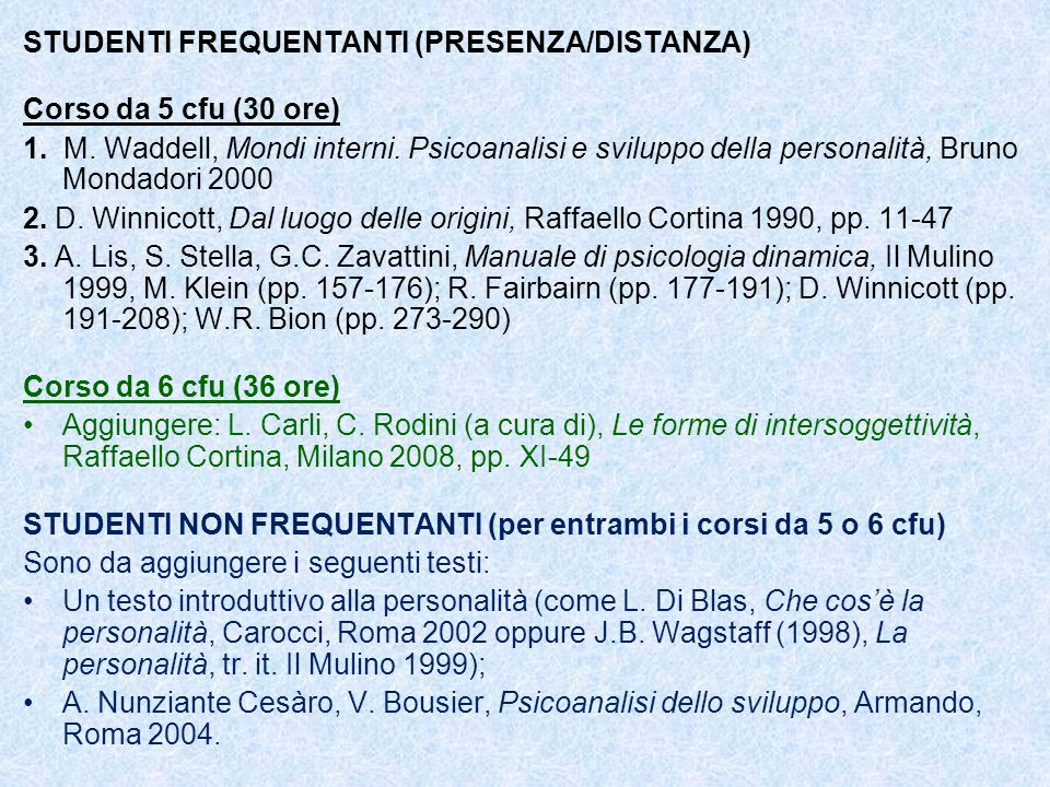 STUDENTI FREQUENTANTI (PRESENZA/DISTANZA) Corso da 5 cfu (30 ore) 1. M. Waddell, Mondi interni. Psicoanalisi e sviluppo della personalità, Bruno Monda
