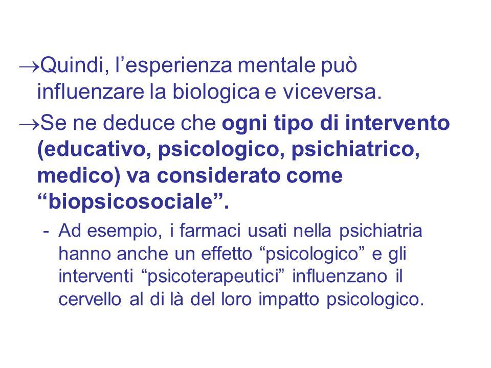  Quindi, l'esperienza mentale può influenzare la biologica e viceversa.  Se ne deduce che ogni tipo di intervento (educativo, psicologico, psichiatr