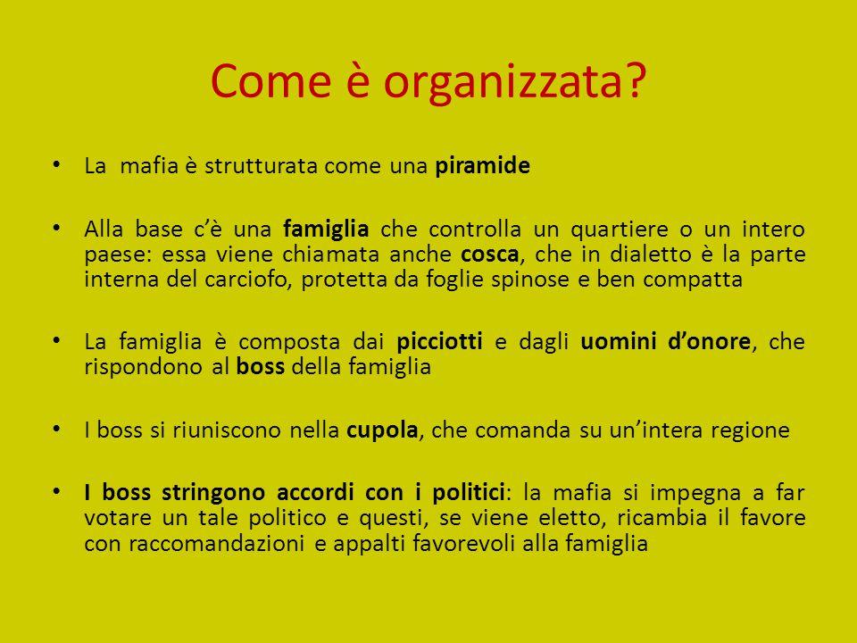 Come è organizzata? La mafia è strutturata come una piramide Alla base c'è una famiglia che controlla un quartiere o un intero paese: essa viene chiam
