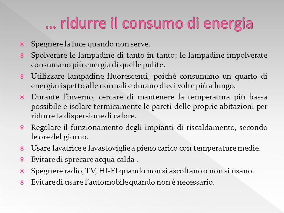  Ridurre il consumo di energia.  Ridurre l'inquinamento dell'aria.  Ridurre il consumo di acqua.  Ridurre l'inquinamento acustico.