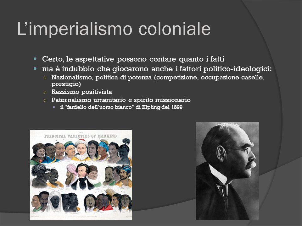 L'imperialismo coloniale Certo, le aspettative possono contare quanto i fatti ma è indubbio che giocarono anche i fattori politico-ideologici: ○ Nazio