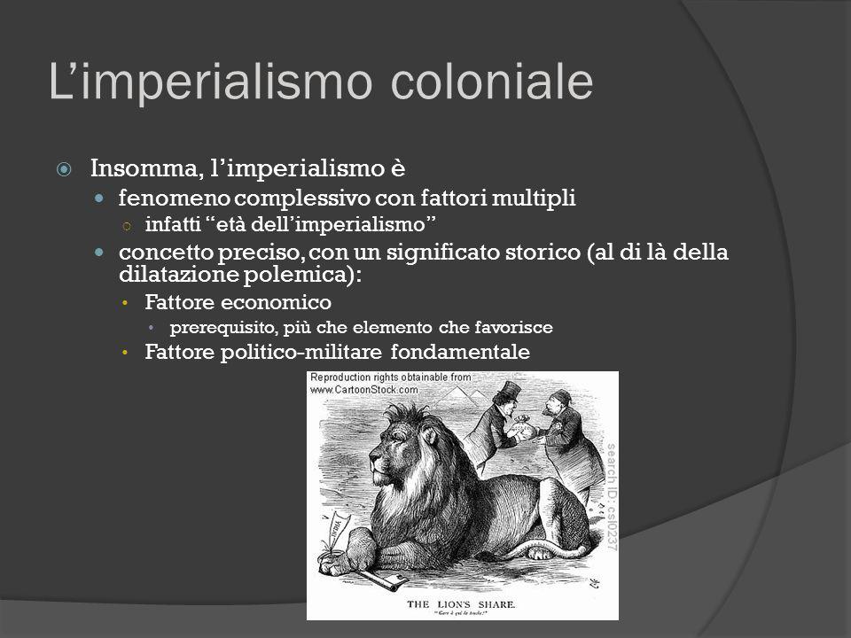 """L'imperialismo coloniale  Insomma, l'imperialismo è fenomeno complessivo con fattori multipli ○ infatti """"età dell'imperialismo"""" concetto preciso, con"""