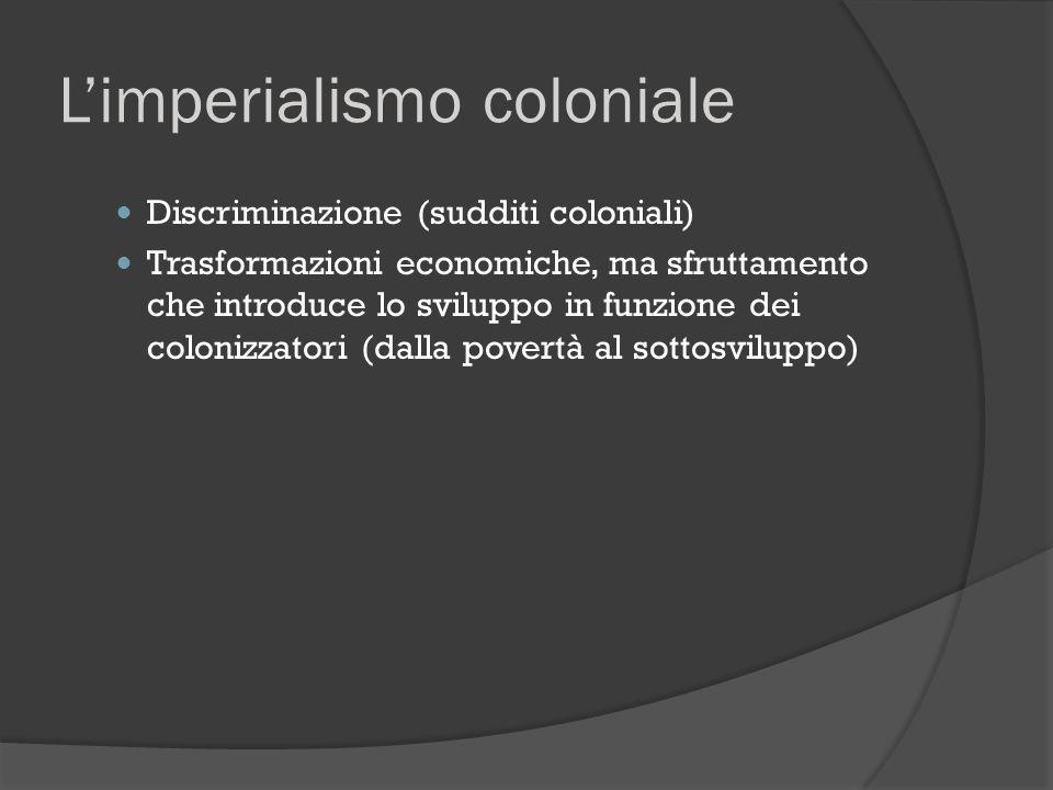 L'imperialismo coloniale Discriminazione (sudditi coloniali) Trasformazioni economiche, ma sfruttamento che introduce lo sviluppo in funzione dei colo