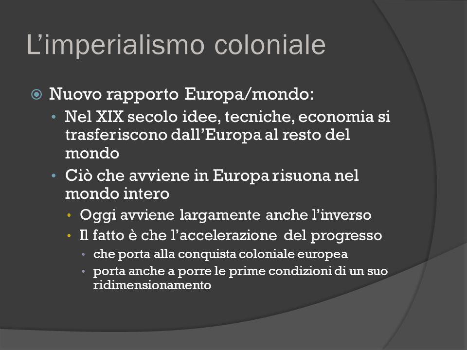 L'imperialismo coloniale  Nuovo rapporto Europa/mondo: Nel XIX secolo idee, tecniche, economia si trasferiscono dall'Europa al resto del mondo Ciò ch