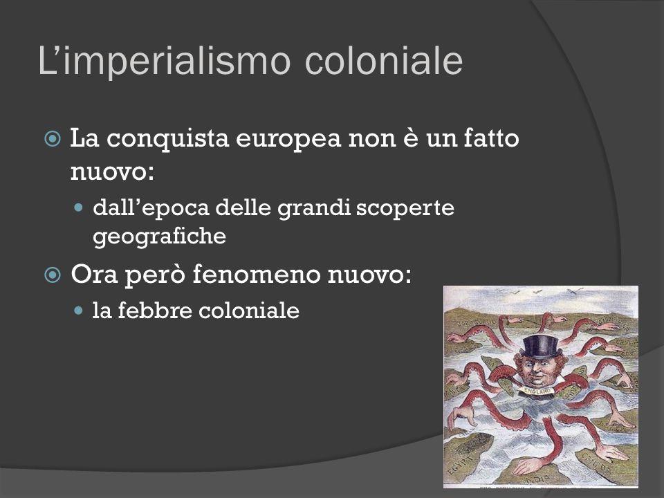 L'imperialismo coloniale  Insomma, l'imperialismo è fenomeno complessivo con fattori multipli ○ infatti età dell'imperialismo concetto preciso, con un significato storico (al di là della dilatazione polemica): Fattore economico prerequisito, più che elemento che favorisce Fattore politico-militare fondamentale