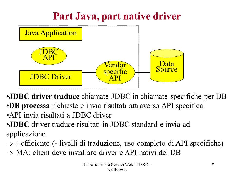 Laboratorio di Servizi Web - JDBC - Ardissono 9 Part Java, part native driver Java Application Data Source JDBC API JDBC Driver Vendor specific API JDBC driver traduce chiamate JDBC in chiamate specifiche per DB DB processa richieste e invia risultati attraverso API specifica API invia risultati a JDBC driver JDBC driver traduce risultati in JDBC standard e invia ad applicazione  + efficiente (- livelli di traduzione, uso completo di API specifiche)  MA: client deve installare driver e API nativi del DB