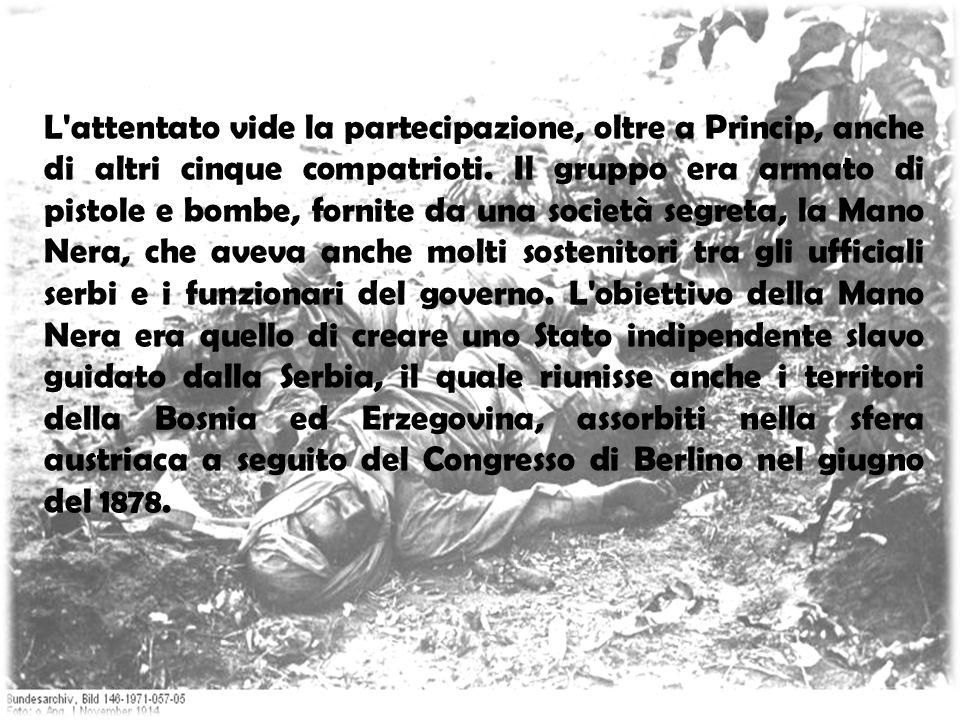 L'attentato vide la partecipazione, oltre a Princip, anche di altri cinque compatrioti. Il gruppo era armato di pistole e bombe, fornite da una societ