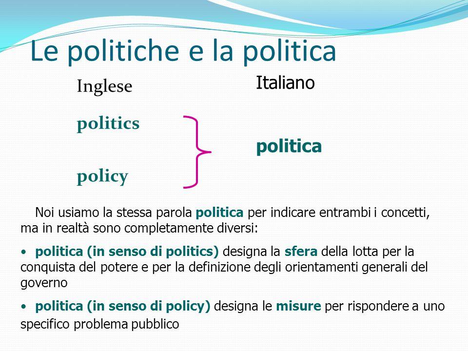 Le politiche e la politica Inglese politics policy Italiano politica Noi usiamo la stessa parola politica per indicare entrambi i concetti, ma in real