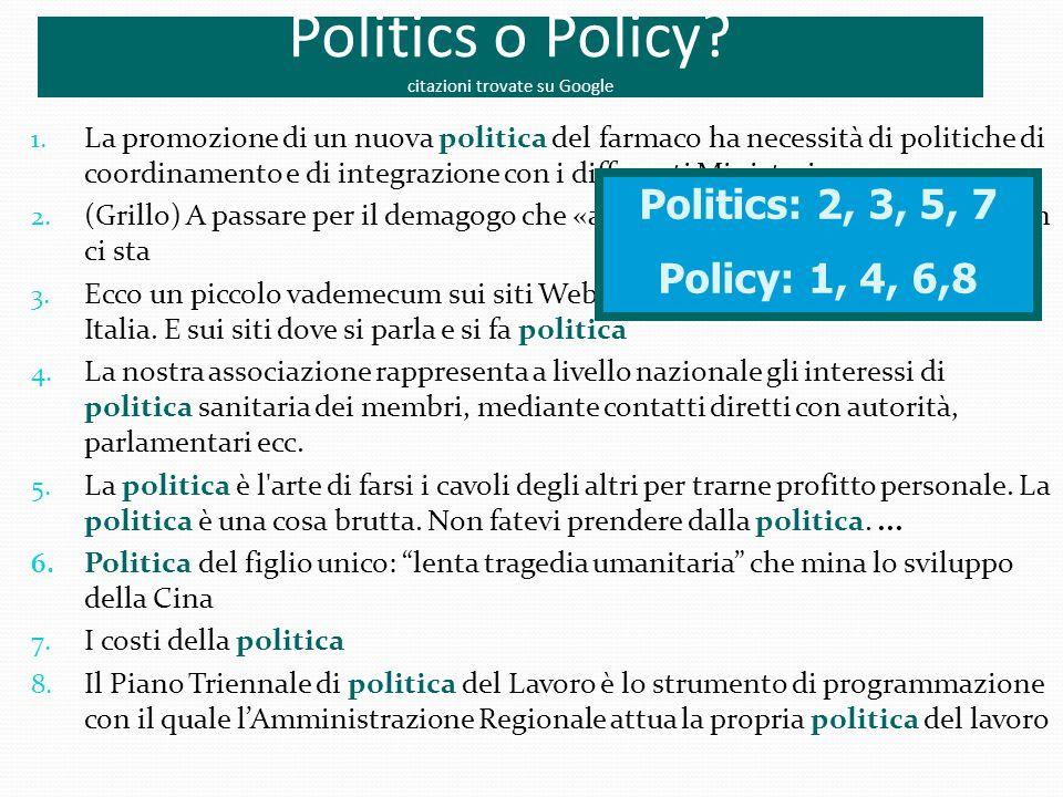 Politics o Policy? citazioni trovate su Google 1. La promozione di un nuova politica del farmaco ha necessità di politiche di coordinamento e di integ