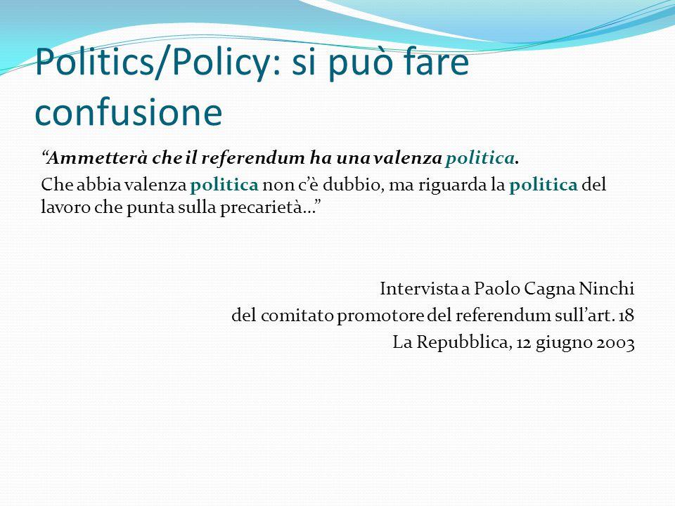 """Politics/Policy: si può fare confusione """"Ammetterà che il referendum ha una valenza politica. Che abbia valenza politica non c'è dubbio, ma riguarda l"""