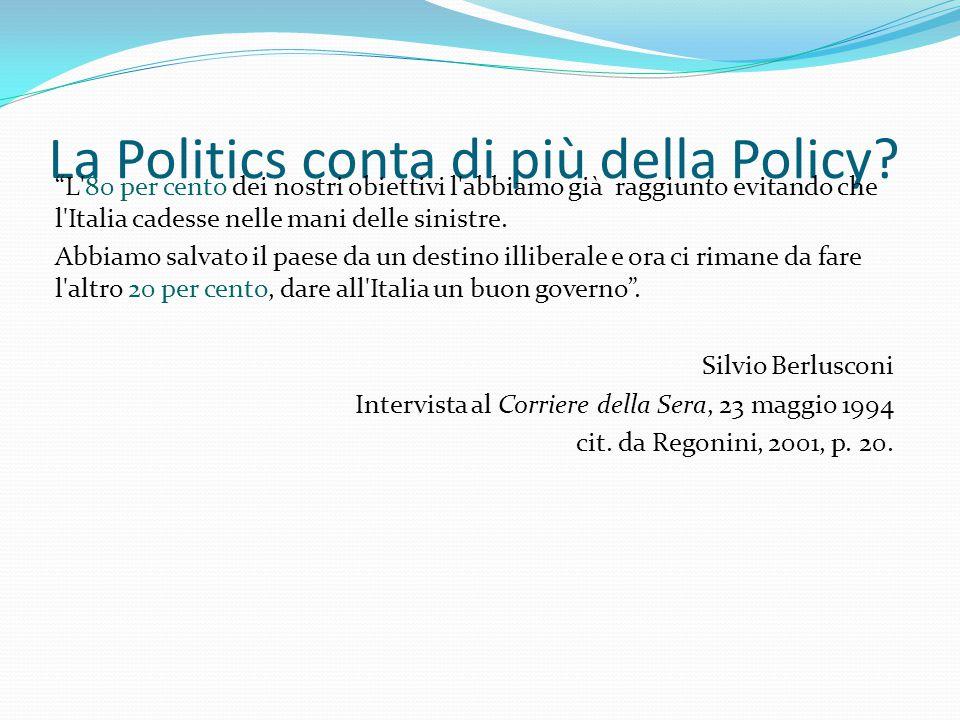 """La Politics conta di più della Policy? """"L'80 per cento dei nostri obiettivi l'abbiamo già raggiunto evitando che l'Italia cadesse nelle mani delle sin"""
