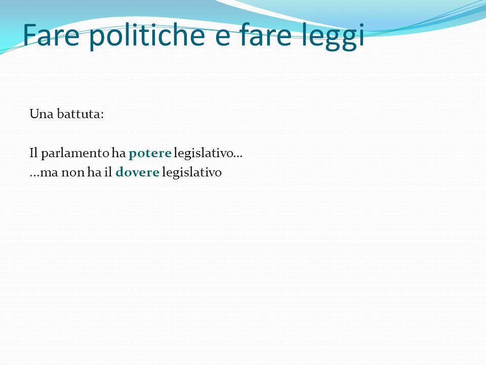 Fare politiche e fare leggi Una battuta: Il parlamento ha potere legislativo…...ma non ha il dovere legislativo