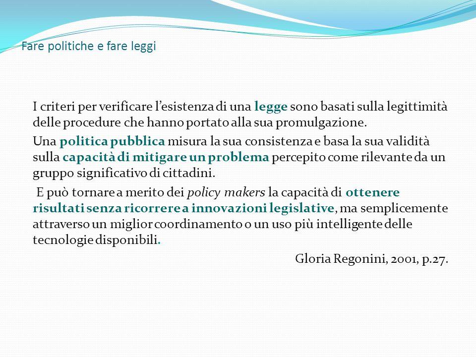 Fare politiche e fare leggi I criteri per verificare l'esistenza di una legge sono basati sulla legittimità delle procedure che hanno portato alla sua promulgazione.