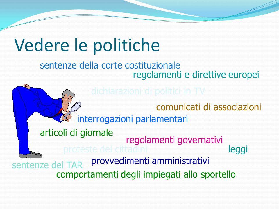 Vedere le politiche leggiproteste dei cittadini regolamenti governativi sentenze del TAR comunicati di associazioni sentenze della corte costituzional