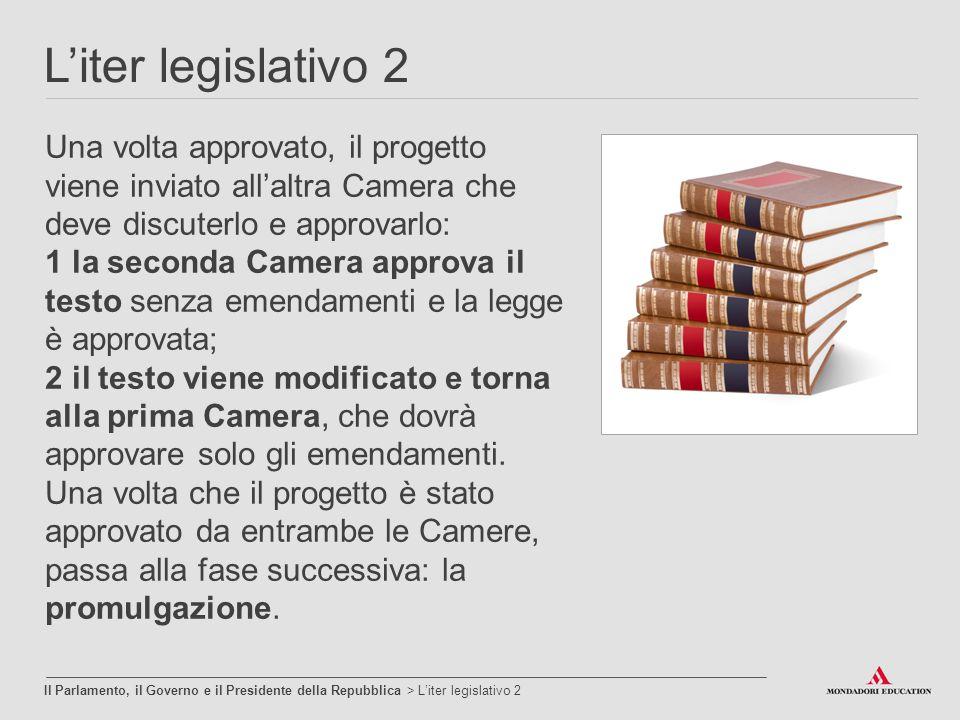 L'iter legislativo 2 Il Parlamento, il Governo e il Presidente della Repubblica > L'iter legislativo 2 Una volta approvato, il progetto viene inviato
